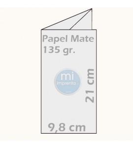 Impresión de Tripticos 10 x 21 cm papel mate 135g