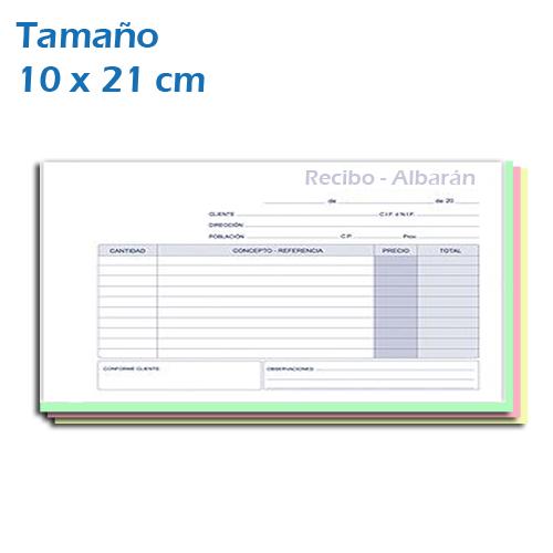 Imprenta de Albaranes, recibos en Blocks en Papel Autocopiativo 10x21 cm